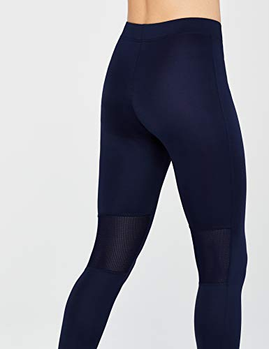Marca Amazon - AURIQUE Mallas Largas de Deporte Mujer, Azul (Navy), 40, Label:M