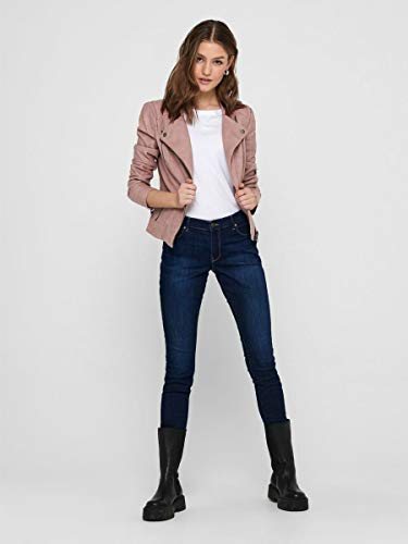 ONLY onlAVA FAUX LEATHER BIKER OTW NOOS, Chaqueta Mujer, Rosa (Ash Rose), 40