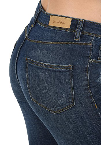 BlendShe Adriana Jeans Denim Vaquero Tejano para Mujer Elástico Relaxed-Fit, tamaño:XS, Color:Dark Blue Washed (29053)